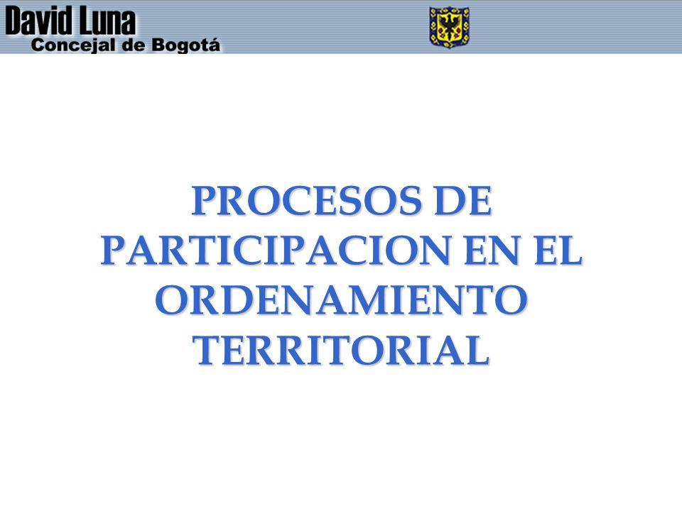 PROCESOS DE PARTICIPACION EN EL ORDENAMIENTO TERRITORIAL