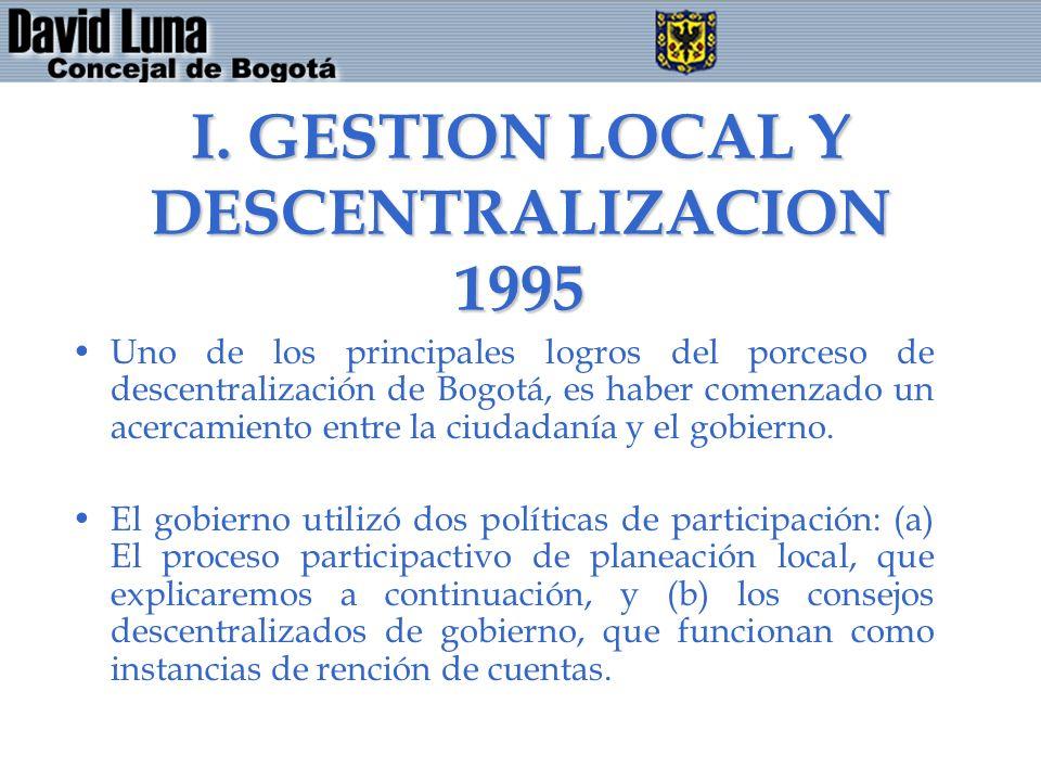 I. GESTION LOCAL Y DESCENTRALIZACION 1995 Uno de los principales logros del porceso de descentralización de Bogotá, es haber comenzado un acercamiento