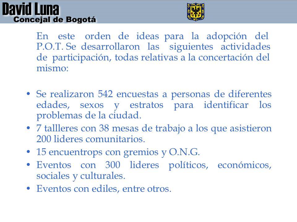 En este orden de ideas para la adopción del P.O.T. Se desarrollaron las siguientes actividades de participación, todas relativas a la concertación del