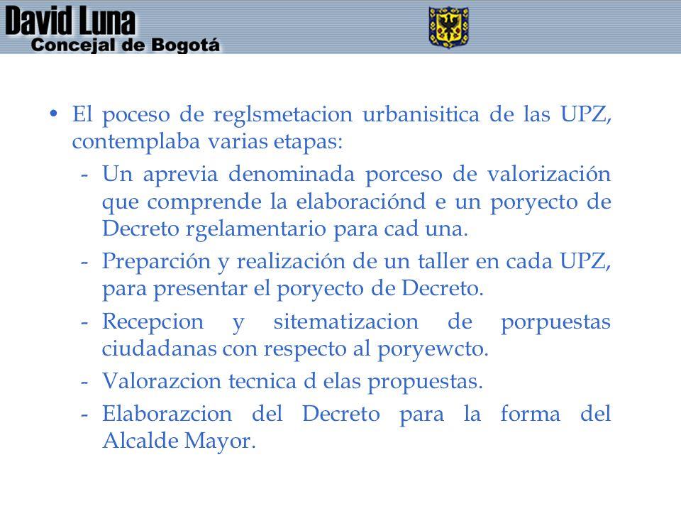 El poceso de reglsmetacion urbanisitica de las UPZ, contemplaba varias etapas: -Un aprevia denominada porceso de valorización que comprende la elabora