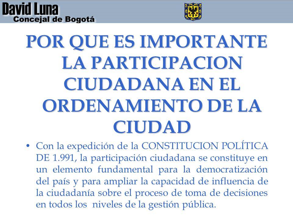 POR QUE ES IMPORTANTE LA PARTICIPACION CIUDADANA EN EL ORDENAMIENTO DE LA CIUDAD Con la expedición de la CONSTITUCION POLÍTICA DE 1.991, la participac