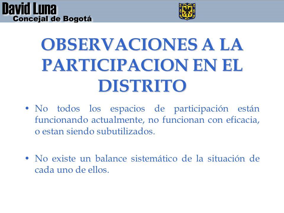 OBSERVACIONES A LA PARTICIPACION EN EL DISTRITO No todos los espacios de participación están funcionando actualmente, no funcionan con eficacia, o est