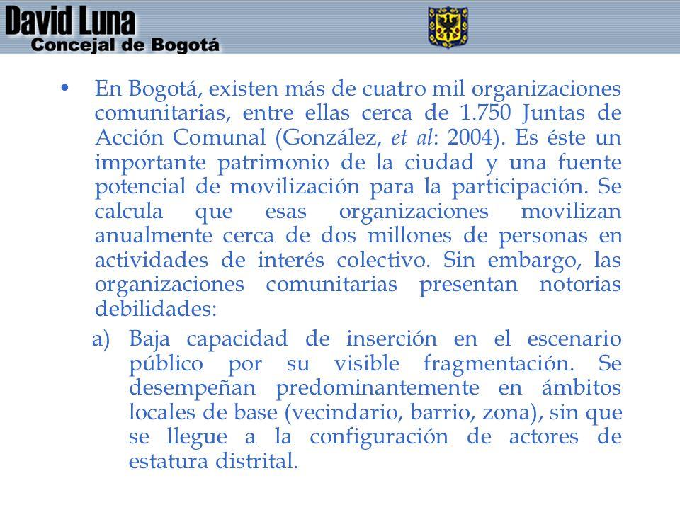 En Bogotá, existen más de cuatro mil organizaciones comunitarias, entre ellas cerca de 1.750 Juntas de Acción Comunal (González, et al : 2004). Es ést