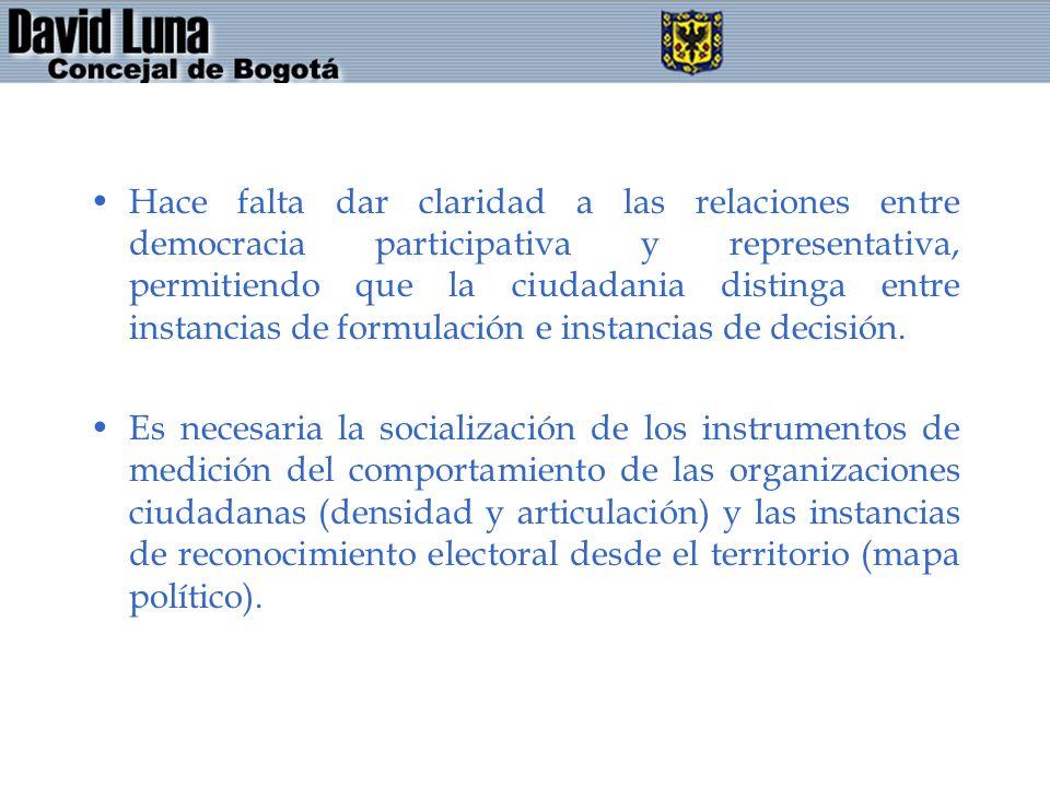 Hace falta dar claridad a las relaciones entre democracia participativa y representativa, permitiendo que la ciudadania distinga entre instancias de f