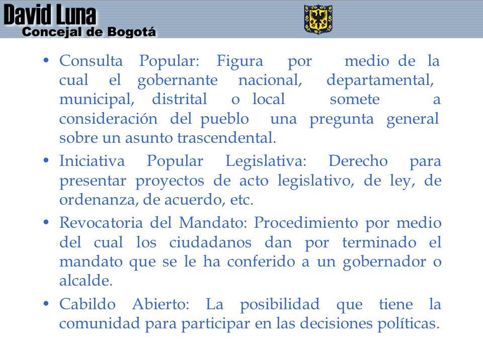Consulta Popular: Figura por medio de la cual el gobernante nacional, departamental, municipal, distrital o local somete a consideración del pueblo un