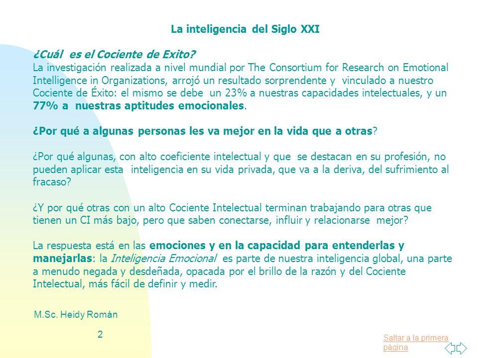 Saltar a la primera página M.Sc. Heidy Román 2 La inteligencia del Siglo XXI ¿Cuál es el Cociente de Exito? La investigación realizada a nivel mundial