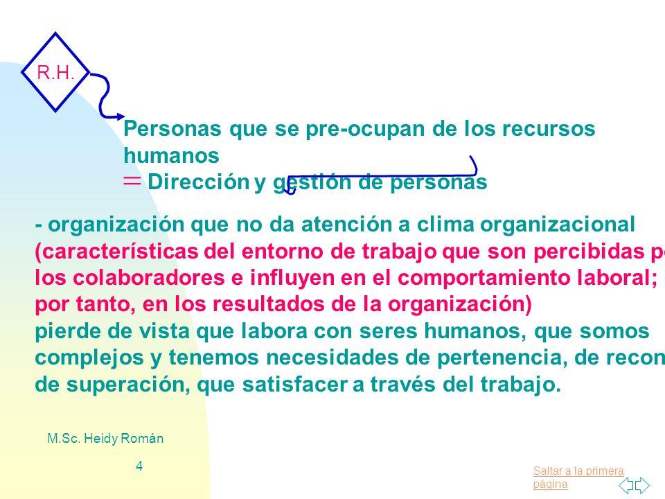 Saltar a la primera página M.Sc. Heidy Román 4 R.H. Personas que se pre-ocupan de los recursos humanos Dirección y gestión de personas - organización