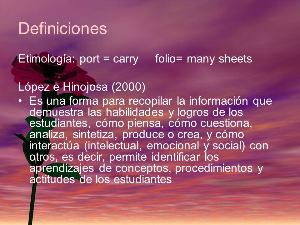 Definiciones Etimología: port = carry folio= many sheets López e Hinojosa (2000) Es una forma para recopilar la información que demuestra las habilida