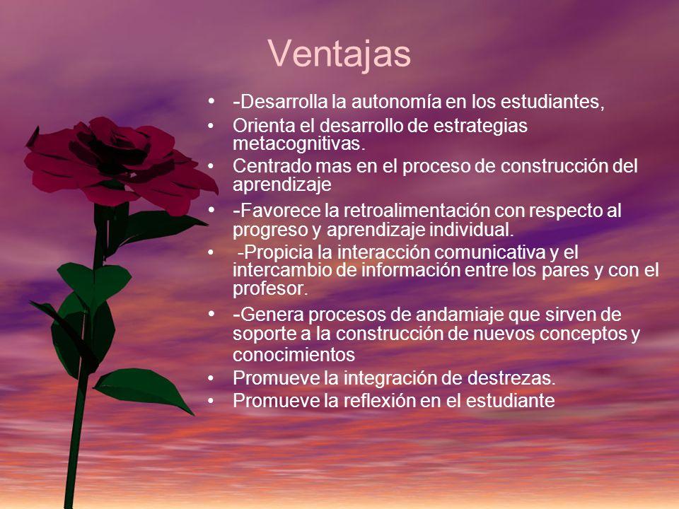 Ventajas - Desarrolla la autonomía en los estudiantes, Orienta el desarrollo de estrategias metacognitivas. Centrado mas en el proceso de construcción