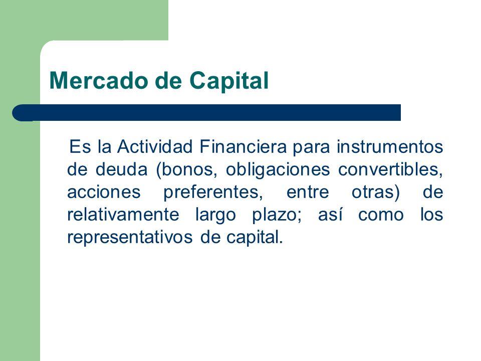 Mercado de Capital Es la Actividad Financiera para instrumentos de deuda (bonos, obligaciones convertibles, acciones preferentes, entre otras) de rela