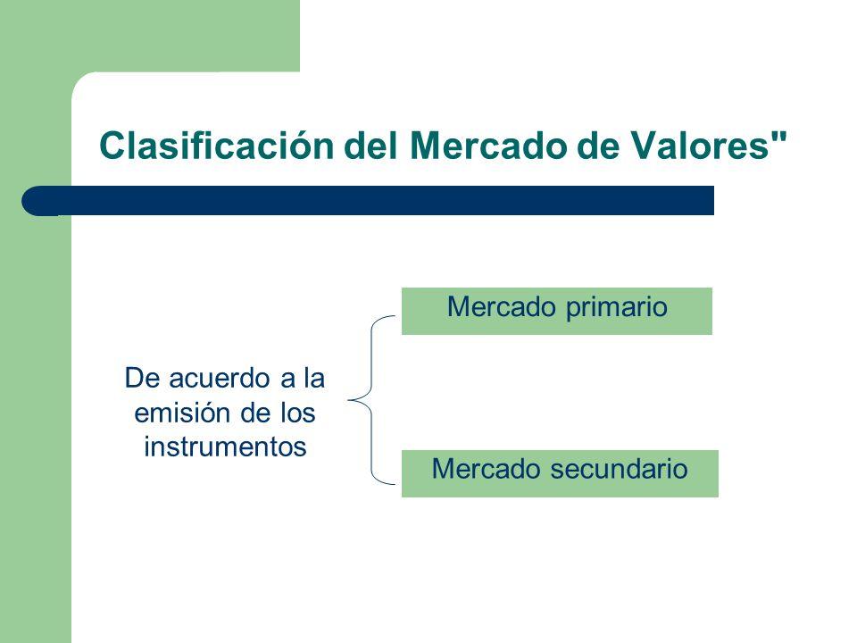 Clasificación del Mercado de Valores