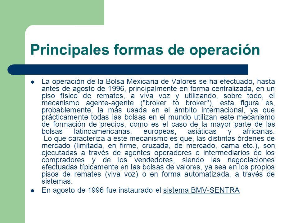 Principales formas de operación La operación de la Bolsa Mexicana de Valores se ha efectuado, hasta antes de agosto de 1996, principalmente en forma c