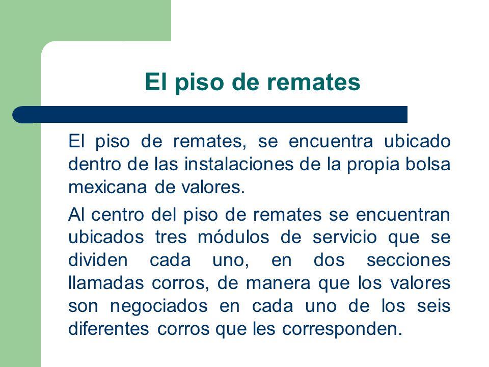 El piso de remates El piso de remates, se encuentra ubicado dentro de las instalaciones de la propia bolsa mexicana de valores. Al centro del piso de