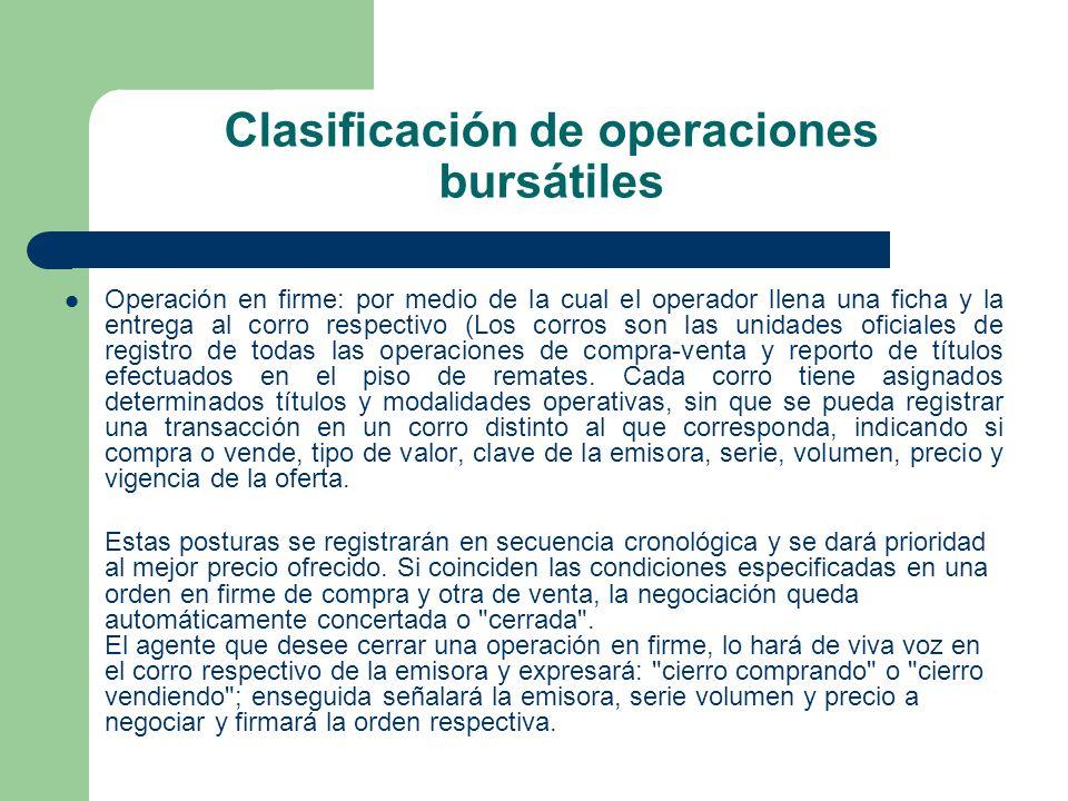 Clasificación de operaciones bursátiles Operación en firme: por medio de la cual el operador llena una ficha y la entrega al corro respectivo (Los cor