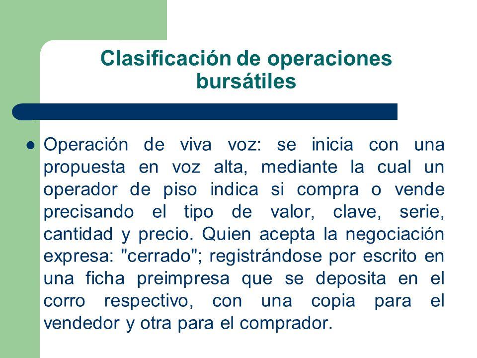 Clasificación de operaciones bursátiles Operación de viva voz: se inicia con una propuesta en voz alta, mediante la cual un operador de piso indica si