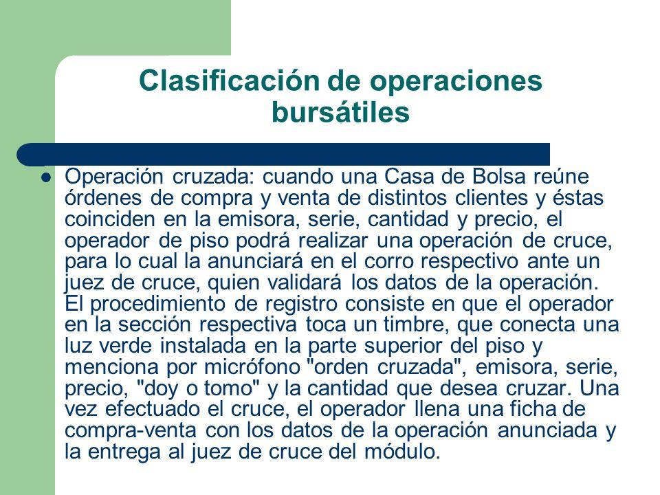 Clasificación de operaciones bursátiles Operación cruzada: cuando una Casa de Bolsa reúne órdenes de compra y venta de distintos clientes y éstas coin