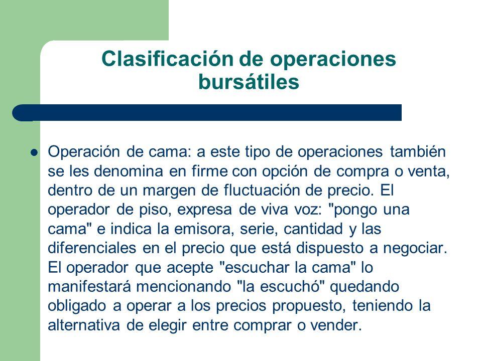 Clasificación de operaciones bursátiles Operación de cama: a este tipo de operaciones también se les denomina en firme con opción de compra o venta, d