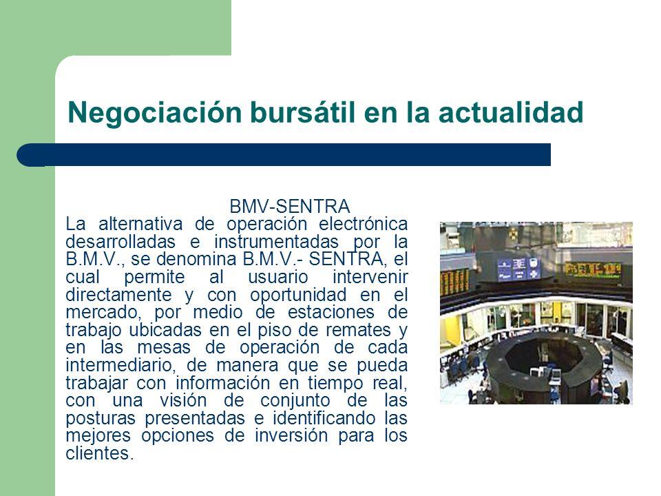 Negociación bursátil en la actualidad BMV-SENTRA La alternativa de operación electrónica desarrolladas e instrumentadas por la B.M.V., se denomina B.M