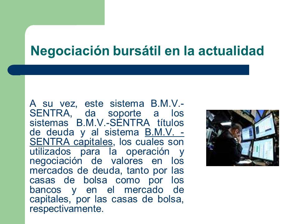 Negociación bursátil en la actualidad A su vez, este sistema B.M.V.- SENTRA, da soporte a los sistemas B.M.V.-SENTRA títulos de deuda y al sistema B.M