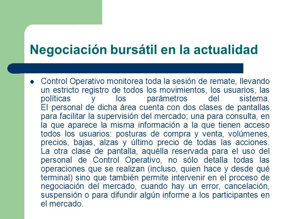 Negociación bursátil en la actualidad Control Operativo monitorea toda la sesión de remate, llevando un estricto registro de todos los movimientos, lo