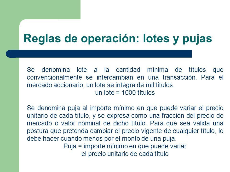 Reglas de operación: lotes y pujas Se denomina lote a la cantidad mínima de títulos que convencionalmente se intercambian en una transacción. Para el