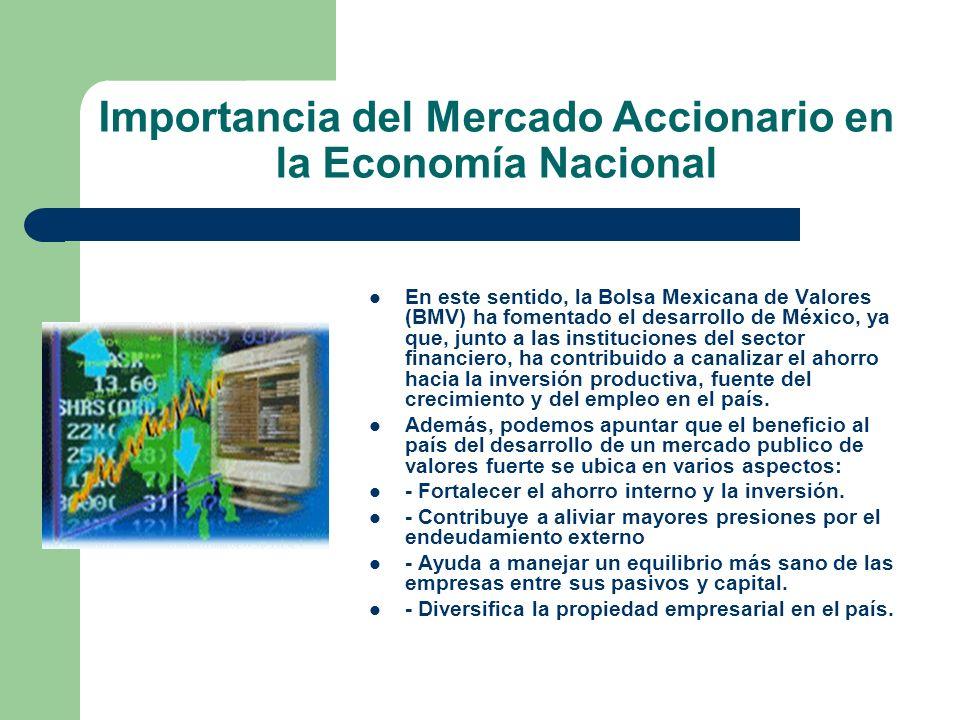 Importancia del Mercado Accionario en la Economía Nacional En este sentido, la Bolsa Mexicana de Valores (BMV) ha fomentado el desarrollo de México, y