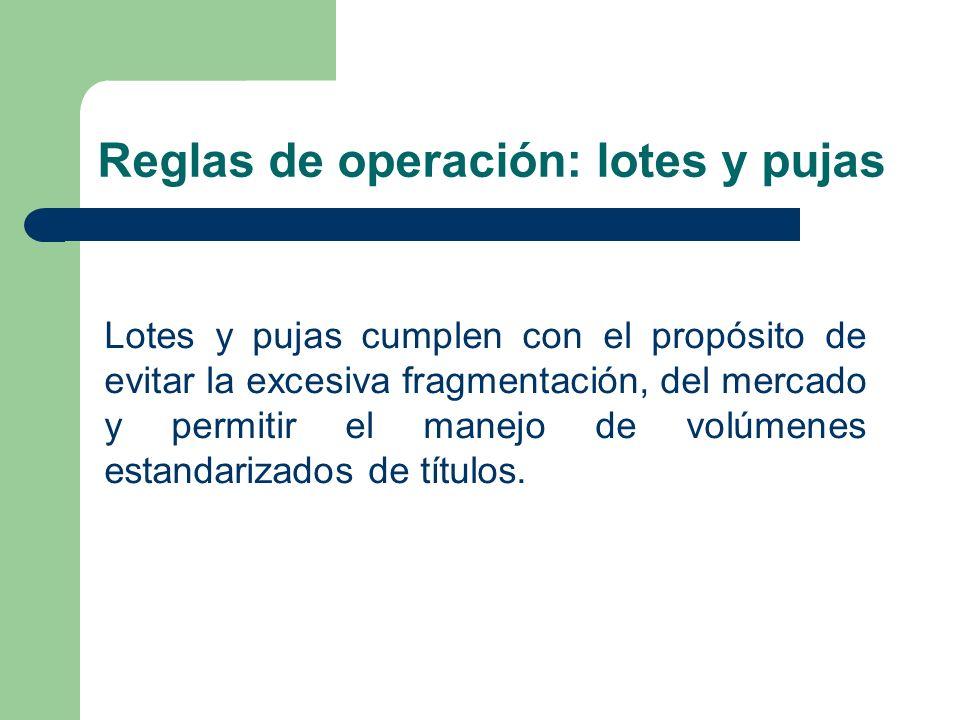 Reglas de operación: lotes y pujas Lotes y pujas cumplen con el propósito de evitar la excesiva fragmentación, del mercado y permitir el manejo de vol