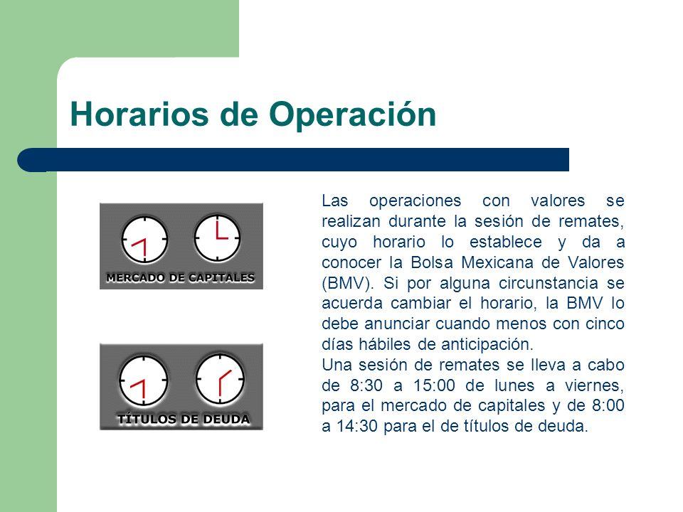 Horarios de Operación Las operaciones con valores se realizan durante la sesión de remates, cuyo horario lo establece y da a conocer la Bolsa Mexicana