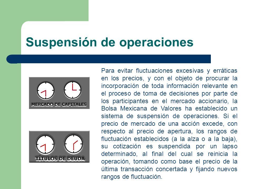 Suspensión de operaciones Para evitar fluctuaciones excesivas y erráticas en los precios, y con el objeto de procurar la incorporación de toda informa