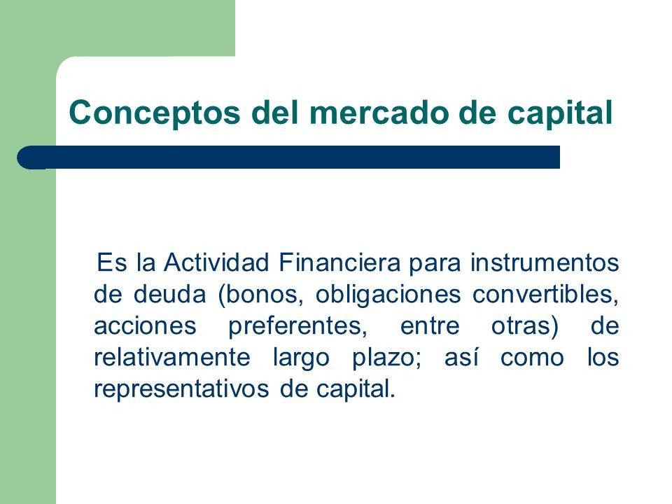 Conceptos del mercado de capital Es la Actividad Financiera para instrumentos de deuda (bonos, obligaciones convertibles, acciones preferentes, entre