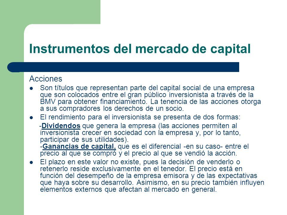 Instrumentos del mercado de capital Acciones Son títulos que representan parte del capital social de una empresa que son colocados entre el gran públi