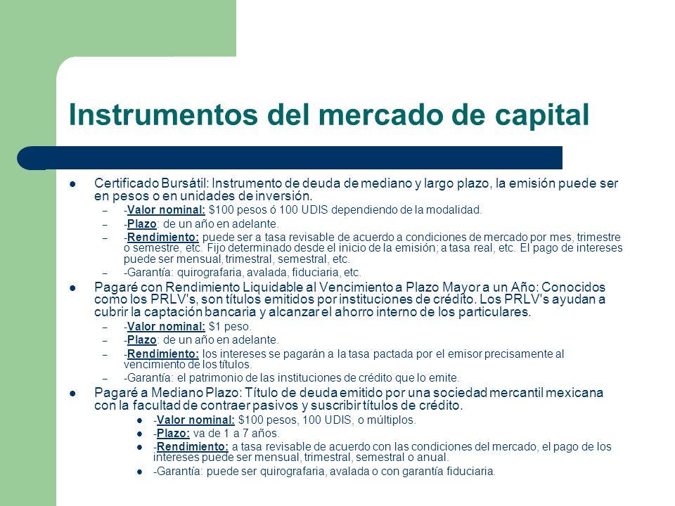 Instrumentos del mercado de capital Certificado Bursátil: Instrumento de deuda de mediano y largo plazo, la emisión puede ser en pesos o en unidades d