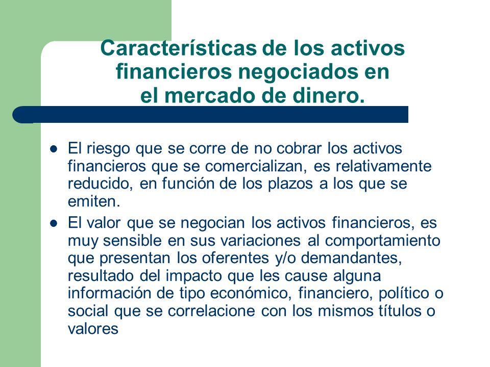 Características de los activos financieros negociados en el mercado de dinero. El riesgo que se corre de no cobrar los activos financieros que se come