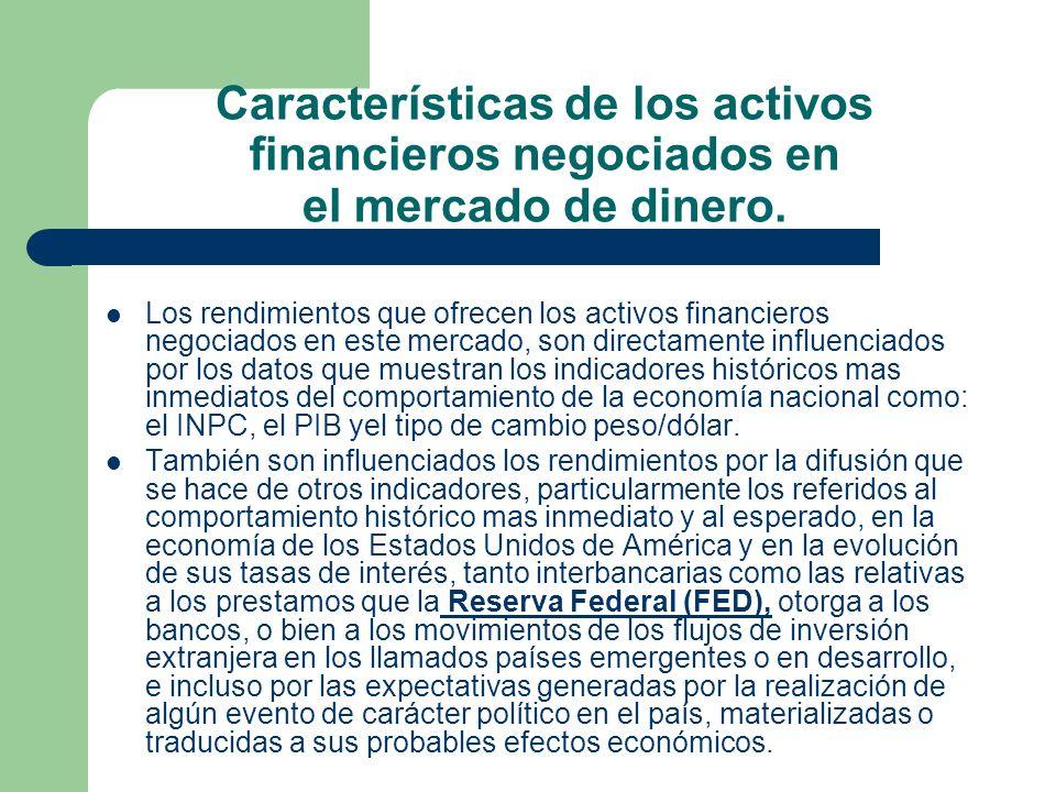 Características de los activos financieros negociados en el mercado de dinero. Los rendimientos que ofrecen los activos financieros negociados en este