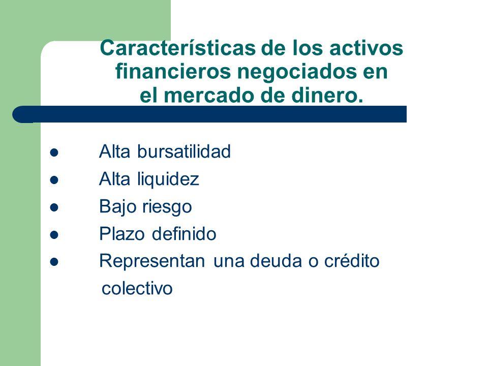Características de los activos financieros negociados en el mercado de dinero. Alta bursatilidad Alta liquidez Bajo riesgo Plazo definido Representan
