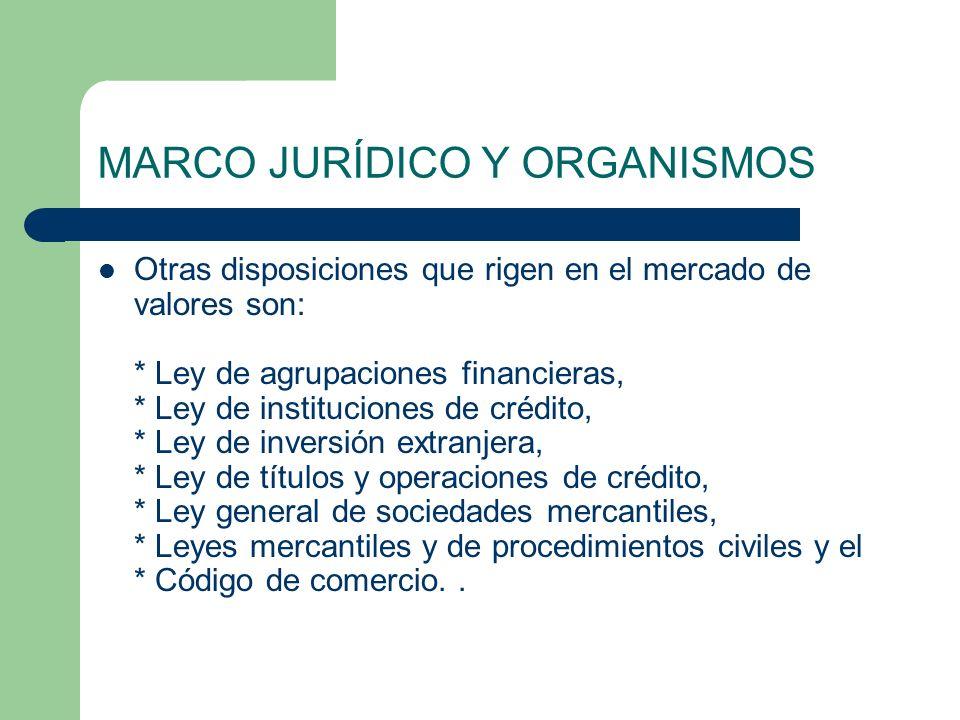 MARCO JURÍDICO Y ORGANISMOS Otras disposiciones que rigen en el mercado de valores son: * Ley de agrupaciones financieras, * Ley de instituciones de c