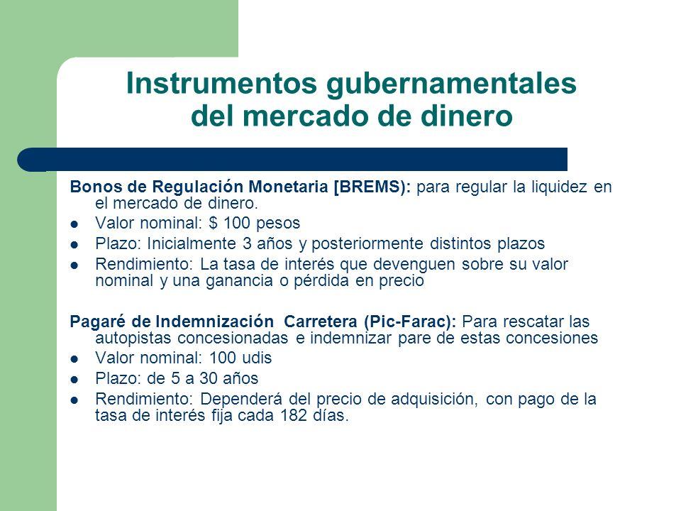 Instrumentos gubernamentales del mercado de dinero Bonos de Regulación Monetaria [BREMS): para regular la liquidez en el mercado de dinero. Valor nomi
