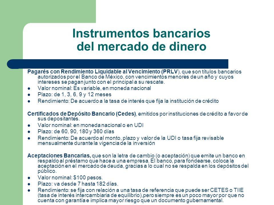 Instrumentos bancarios del mercado de dinero Pagarés con Rendimiento Liquidable al Vencimiento (PRLV), que son títulos bancarios autorizados por el Ba