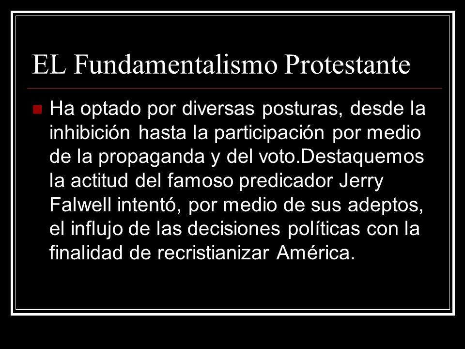 EL Fundamentalismo Protestante Ha optado por diversas posturas, desde la inhibición hasta la participación por medio de la propaganda y del voto.Desta