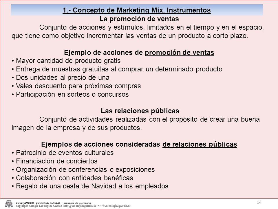 DEPARTAMENTO DE CIENCIAS SOCIALES – Economía de la empresa Copyright Colegio Escolapias Gandia info@escolapiasgandia.es www.escolapiasgandia.es 14 1.-