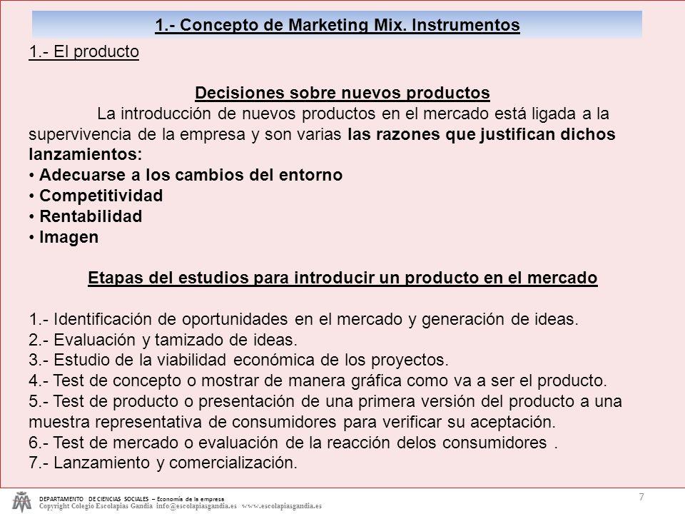 DEPARTAMENTO DE CIENCIAS SOCIALES – Economía de la empresa Copyright Colegio Escolapias Gandia info@escolapiasgandia.es www.escolapiasgandia.es 7 1.-
