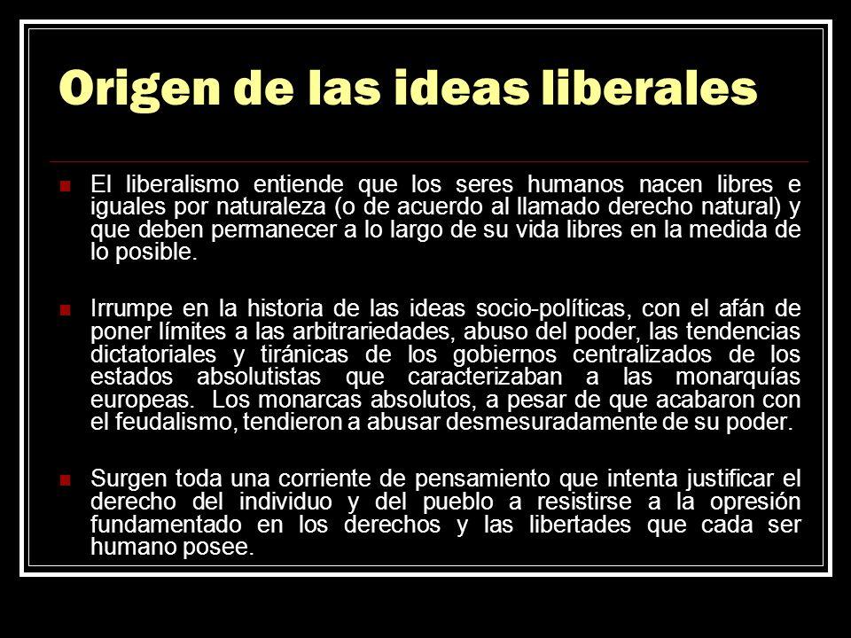 Origen de las ideas liberales El liberalismo entiende que los seres humanos nacen libres e iguales por naturaleza (o de acuerdo al llamado derecho nat