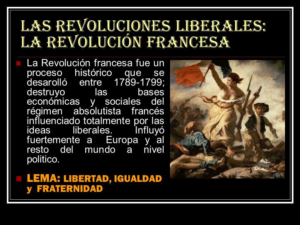 Las revoluciones liberales: la revolución francesa La Revolución francesa fue un proceso histórico que se desarolló entre 1789-1799; destruyo las base