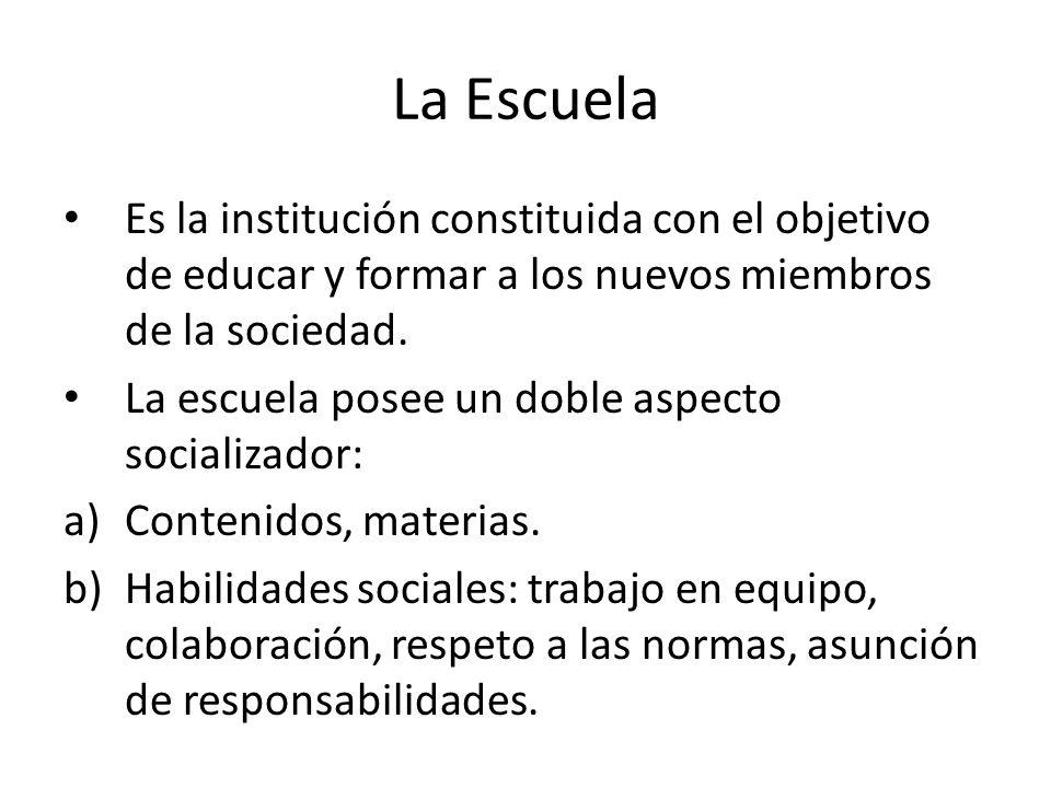 La Escuela Es la institución constituida con el objetivo de educar y formar a los nuevos miembros de la sociedad. La escuela posee un doble aspecto so