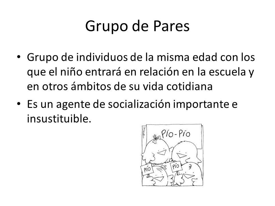Grupo de Pares Grupo de individuos de la misma edad con los que el niño entrará en relación en la escuela y en otros ámbitos de su vida cotidiana Es u