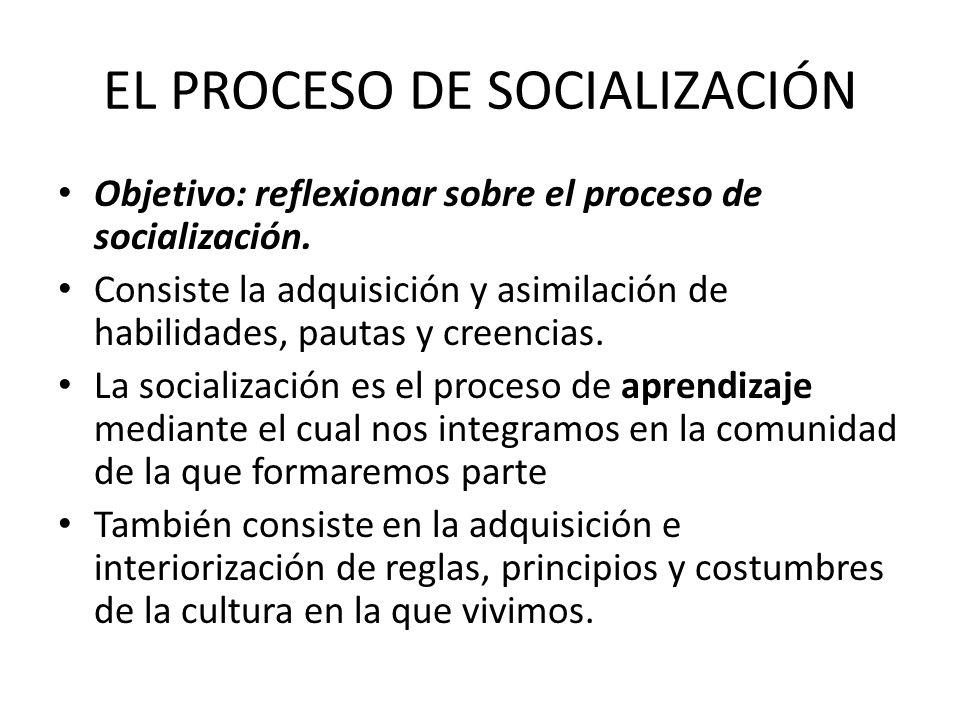 EL PROCESO DE SOCIALIZACIÓN Objetivo: reflexionar sobre el proceso de socialización. Consiste la adquisición y asimilación de habilidades, pautas y cr