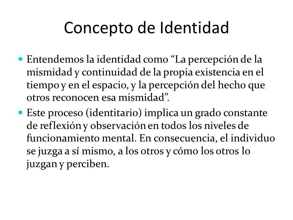 Concepto de Identidad Entendemos la identidad como La percepción de la mismidad y continuidad de la propia existencia en el tiempo y en el espacio, y