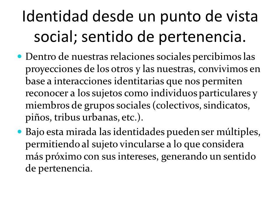 Identidad desde un punto de vista social; sentido de pertenencia. Dentro de nuestras relaciones sociales percibimos las proyecciones de los otros y la