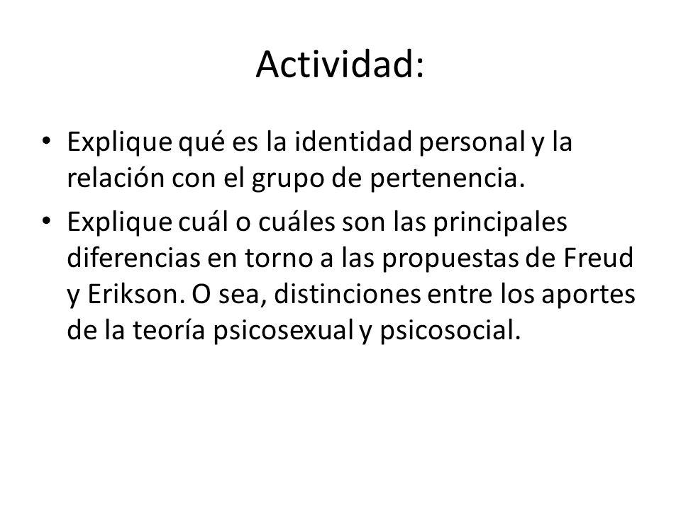 Actividad: Explique qué es la identidad personal y la relación con el grupo de pertenencia. Explique cuál o cuáles son las principales diferencias en
