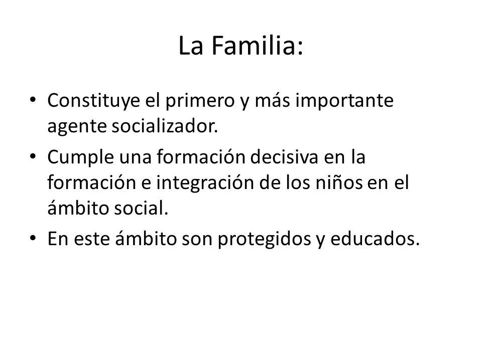 La Familia: Constituye el primero y más importante agente socializador. Cumple una formación decisiva en la formación e integración de los niños en el